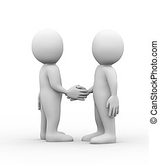 3d man partner friend hand shake - 3d illustration of...