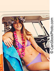Beach Lifestyle Surfer Girl in Vintage Surf Van