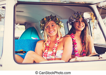 Beach Lifestyle Surfer Girls in Vintage Surf Van