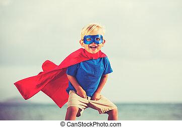 superhero, criança,