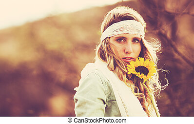 Fashion, Young Woman Outdoors at Sunset - Fashion Lifestyle,...