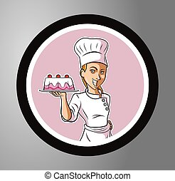 Chefs female Circle sticker