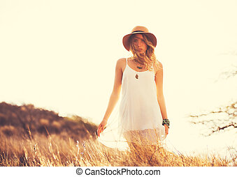 Happy Young Woman Outdoors at Susne - Fashion Lifestyle....