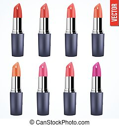 Lipstick  in various shades of red isolated on white background