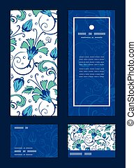 Vector blue green swirly flowers vertical frame pattern...