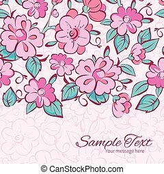 Vector pink blue kimono flowers horizontal border card template