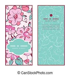 粉紅色, 藍色, 集合, 垂直, 圖案, 框架, 問候, 矢量, 和服, 邀請, 卡片, 花