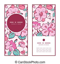 Vector pink blue kimono flowers vertical round frame pattern invitation greeting cards set
