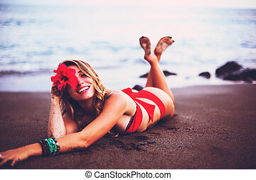 Woman Relaxing on Tropical Beach - Beautiful Woman Relaxing...