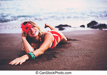 Woman Relaxing on Tropical Beach - Beautiful Woman Relaxing...