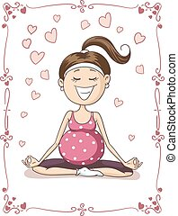 Blissful Pregnant Yoga Vector Cartoon - Illustration of...
