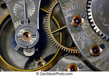 Interior shot of old pocket watch with flywheel in motion