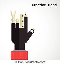 Creative hand logo design templates. Drawing instrument sign with business & education concept.