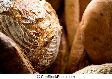 Variety of breads for sale.