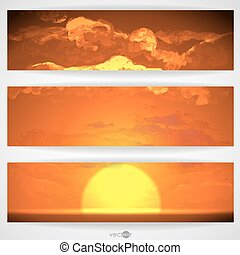 Sunset, Sunrise With Clouds. Painting Picture. Vector...