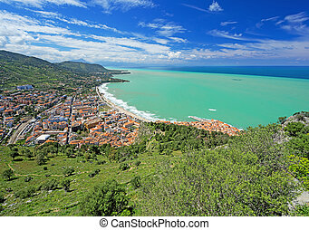 Panoramic view of village Cefalu and ocean