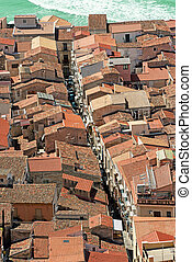 View on the Cathedral Square of Cefalu from the mountain...