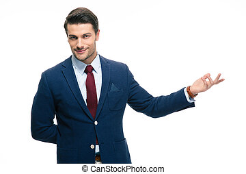 Businessman with arm out in a welcoming gesture - Happy...