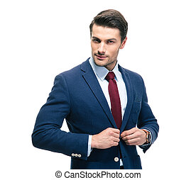 Confident businessman putting on suit jacket isolated on a...