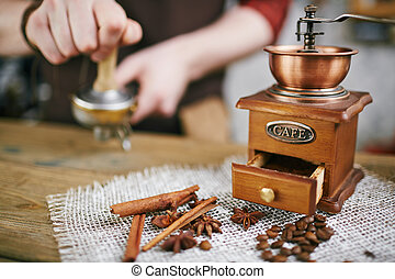 Coffee grinder and aromatic flavorings - Wooden coffee...