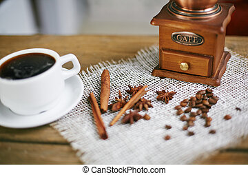 Aromatic coffee - Wooden coffee grinder, coffee beans, star...
