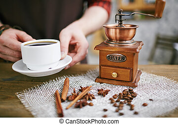 Aromatic drink - Wooden coffee grinder, coffee beans, star...