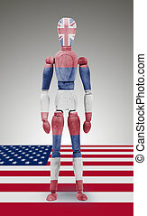 Wood figure mannequin with US state flag bodypaint - Hawaii...
