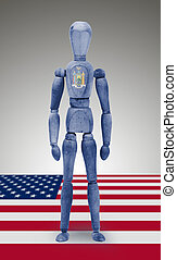 Wood figure mannequin with US state flag bodypaint - New...