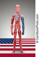 Wood figure mannequin with US state flag bodypaint -...