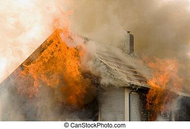telhado, casa, fogo