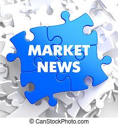 Mercado, noticias, en, azul, Puzzle.,