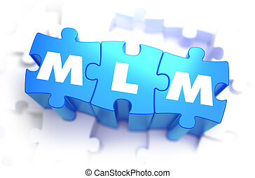 MLM - Text on Blue Puzzles. - MLM - Multi Level Marketing -...