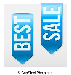 Set of Popular Ribbons BEST and SALE. Realistic modern style.