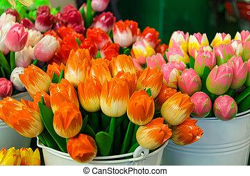 sprzedaż, Od, sztuczny, pamiątka, Holenderski, tulipany,...