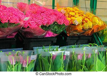 Sprzedajcie, barwny, Holenderski, tulipany, i, Róże,...