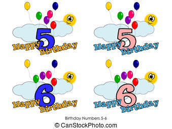 Birthday numbers 5-6 - Birthday numbers for greeting