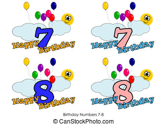 Birthday numbers 7-8 - Birthday numbers for greetings card -...