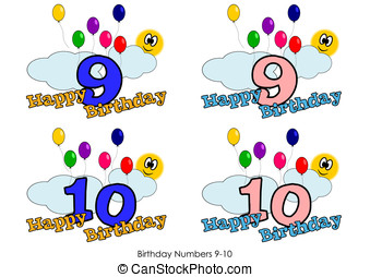 Birthday numbers 9-10 - Birthday numbers for greetings card...