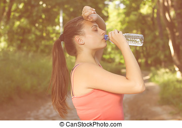 Fitness Healthy Young Woman Drinking Water