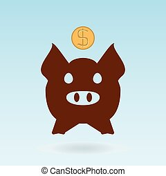 piggy bank icon and coins