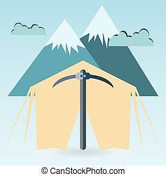 Kirk mountains clouds. camping concept with tent.