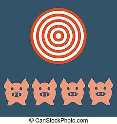 Pig head or face icon. Agriculture and farming, targt concept.