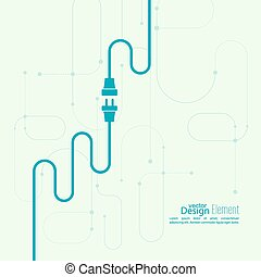 Abstract background with wire plug and socket. Concept...