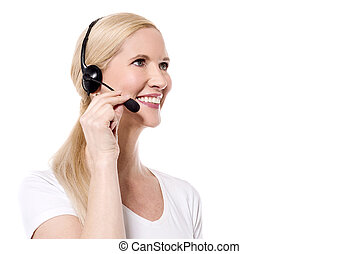 How can I help you - Sideways of female customer support...