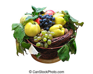 wooden basket with autumn harvest fruit isolated