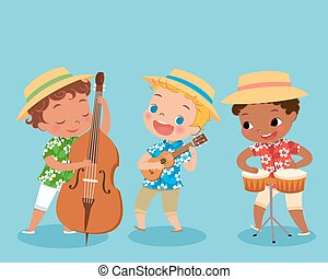 trio band - illustration of children playing music...
