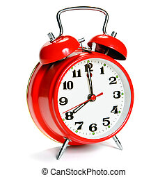 Vintage alarm clock - Red vintage alarm clock isolated on...