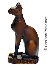 Statue Egypt Cat - Egyptian cat statue isolated over white