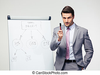 Businessman making presentation on flipchart over gray...