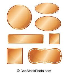 Blank metallic icon set copper